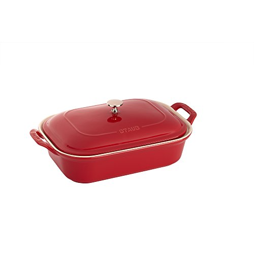 Staub 40509-096 Ceramic Rectangular Covered Baking Dish, Cherry (Dish Rectangular Porcelain)