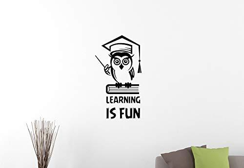 calcomanía decorativo de pared con cita inspiradora para el aprendizaje de búhos, libros de estudio, educación motivadora,...