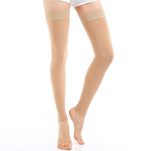 Goege Footless Compression Stockings Thigh High Microfiber Medical Tight Socks 20 30Mmhg  S  Beige