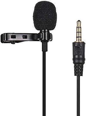 Muslady Micrófono con conexión de micrófono con clip de solapa ...