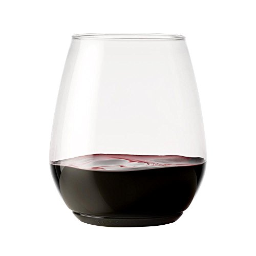 Party Wine Glass (TOSSWARE 18oz Tumbler - recyclable wine plastic cup - SET OF 12 - stemless, shatterproof and BPA-free wine glasses)