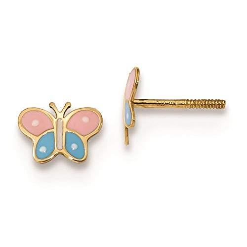 14K Yellow Gold Madi K Children's 7 MM Enameled Butterfly Screw Back Stud - Enameled Stud