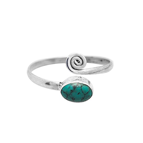 Sterling Silver Turquoise Toe Ring - Koral Jewelry Sterling Silver Synthetic Turquoise Adjustable Spiral Midi Knuckle/Toe Ring