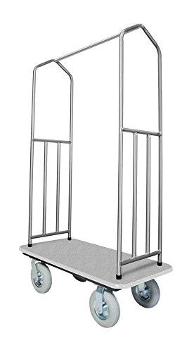 Stainless Steel Bellman's Cart with Gray Deck by Evania Luigi Brigitte