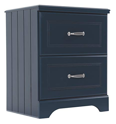 Ashley Furniture Signature Design  Leo Nightstand  2 Drawers  Casual Styling with Crisp Finish  Blue