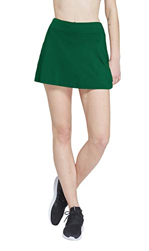 HonourSport Women Solid Color Golf Skirt with Underneath Shorts Dark Green ()