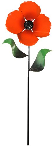 Steven Cooper Metalsmith AFLWR-20-S Artificial Garden Flower on Footed Stake, 3-Feet, Orange