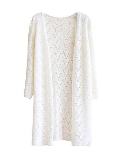 Unie Mode Blanc Elégante Jeune Cardigan Couleur Manches Femme Outerwear Unique Longues Chic Pin Slim Manteau Tricot En up Veste Automne Printemps Fit q1PBxY0