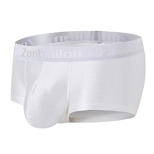 (Mens Underwear Sexy Pouch Boxer Briefs for Men Ice Short Trunk Underpants Pack White,XL)