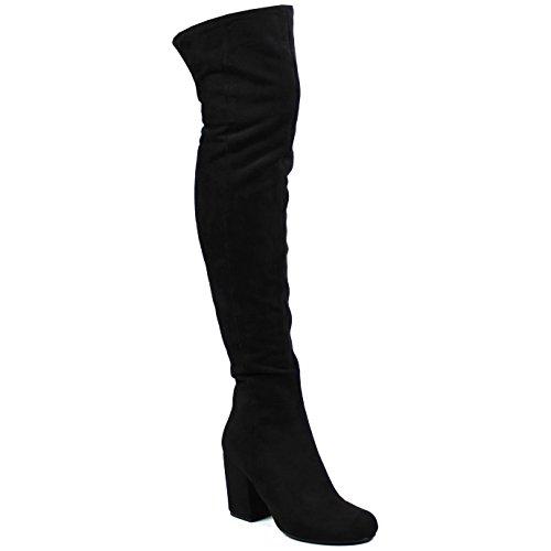 Cuisse Slouch Femmes Haute Le Low Noir Mode Suède Genou Sur Bloc Bottes Hiver Talon wqt4ftX
