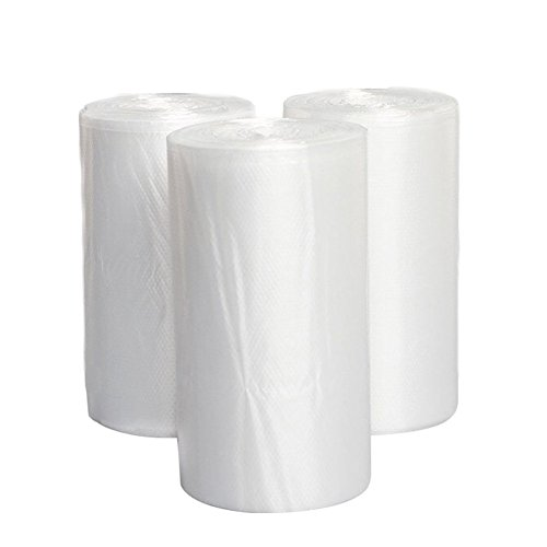 4 Gallon Clear Trash Bags, JORRIS Small Rubbish Bags 15-Liters Clear Wastebasket Liners Bags for Small Office, Bathroom and Coffee Station Wastebaskets Bin (Clear, 150 Counts/ 3 Rolls) ()