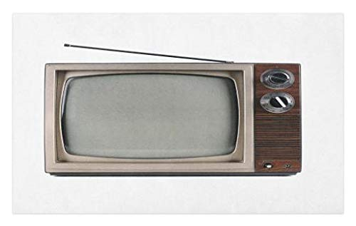 Lunarable 1950s Doormat, Old Television Antenna Broadcast Display Antique TV Historic Movie Screen, Decorative Polyester Floor Mat Non-Skid Backing, 30 W X 18 L inches, Umber Taupe White