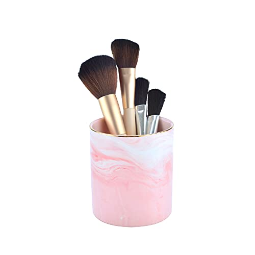 Rzoeox Ceramic Round Cute Pen Holder, Desk Round Pen Holder Stand Marble Pattern Pencil Cup, Desk Organizer Makeup Brush Holder, Ideal Gift for Office, Classroom, Home (Pink)