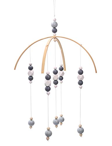 - Baby Crib Mobile - 100% Wooden Beads for Your Boy or Girl Babies Bed Room - Designer Colors to Match Your Nursery and Delight Your Child (Dark Gray-11.819.2In)