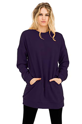 NANAVA Women's Casual Loose Fit Long Sleeves Over-Sized Sweatshirts Dark Purple M/L