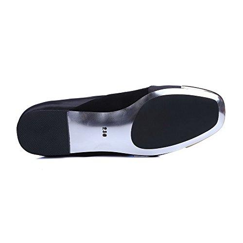 Amoonyfashion Womens Zacht Materiaal Pull-on Vierkante Dichte Teen Lage Hakken Stevige Pumps-schoenen Grijs