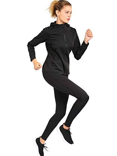 Active Wear Sets for Women -Workout Clothes Gym Wear Tracksuits Yoga Jogging Track Outfit Legging Jacket 2 Pieces Set Black