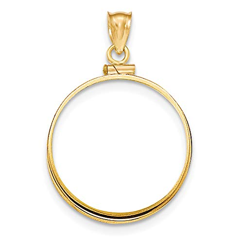14k Yellow Gold Polished Screw Top Old US Ten 10 Dollar Liberty Coin Bezel 27 mm x 2 mm