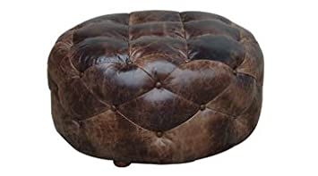 Gentil Earle Medium Round Tufted Dark Brown Distressed Leather Ottoman Coffee Table