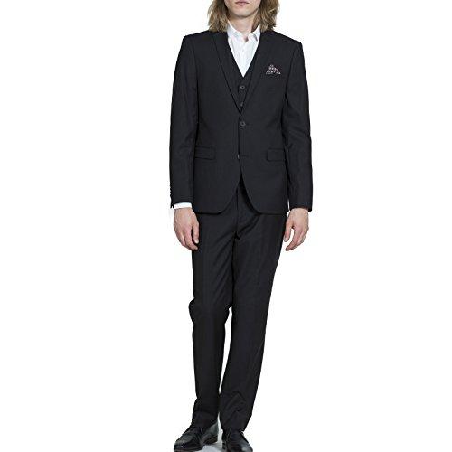 Men's Carter & Jones 3 piece 2 Button Black Slim Fit Suit 48S
