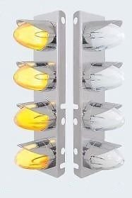 CPW (tm) Peterbilt 8 LED Front Air Cleaner Brackets Pair With Watermelon Lights Amber / Clear by CPW