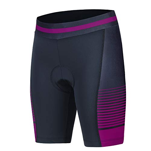 Cycling Compression Shorts Padded Bicycle Riding Shorts Road Bike Shorts Comfort Tight Biking Shorts Women(Purple,XL)