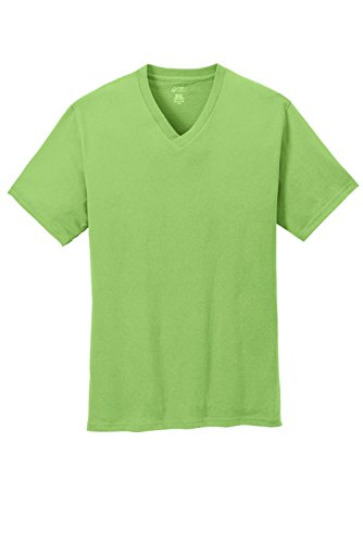 Port & Company 5.4-oz 100% Cotton V-Neck T-Shirt>L Lime PC54V
