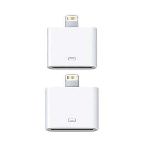 Lightning to 30-Pin Converter, 2 Pack 8 Pin to 30 Pin White Charging Adapter for iPhone 7, 7 Plus, 6S, 6S Plug, 5S, 5C, iPad - Apple 8 Pin To 30 Pin Adapter
