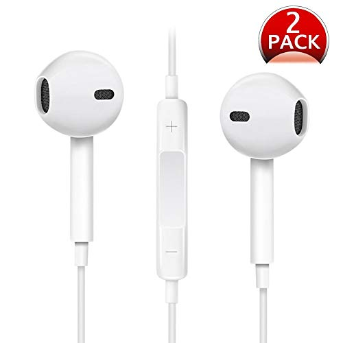 Xawy Headphones, [2 Pack] in-Ear Earbuds Noise Isolation Headsets Heavy Bass Earphones with Microphone Compatible iPhone Samsung and Android Phones