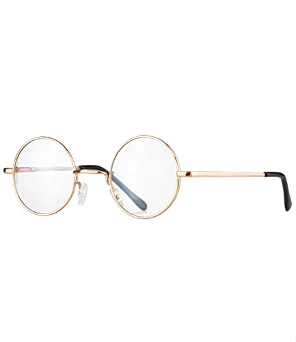 caripe runde Lennon Sonnenbrille Retro Vintage Brille (gold - clear - 815)