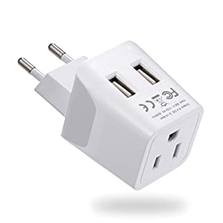 Europe Travel Adapter, Ceptics Ultra Compact Dual USB Power Plug - for European Type C - 3 Inputs - iPhone, Laptop, Galaxy, Cell Phones, Camera Chargers, iWatch & More - CTU-9C