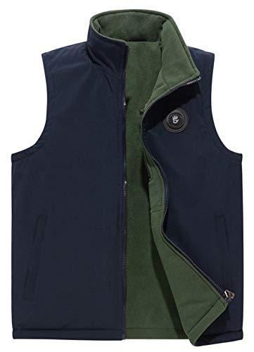 (HOW'ON Men's Reversible Casual Vest Full Zip Mountain Fleece Vest Outerwear Blue US M)