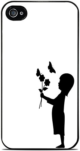 Little Girl with Flowers and Butterfly Black Silhouette Black Hardshell Case for iPhone 4 / 4S by Moonlight Printing