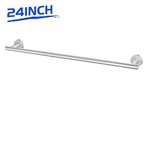 LuckIn 24 Inch Towel Bar Rack Brushed Nickel, Modern Single Towel Bar Stainless Steel, Kitchen Towel Rod Holder Wall Mounted Towel Rail Hanger for Bathroom, TR0024