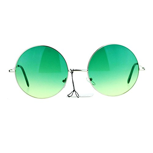 SA106 Hippie Oceanic Gradient Large Circle Lens Sunglasses - Sunglasses Lense Green