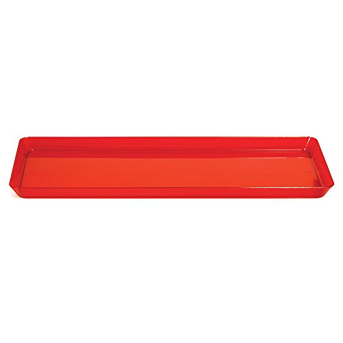 Creative Converting 6 Count Trendware Plastic Serving Trays, Translucent Red, Rectangle - Edge Serving Tray