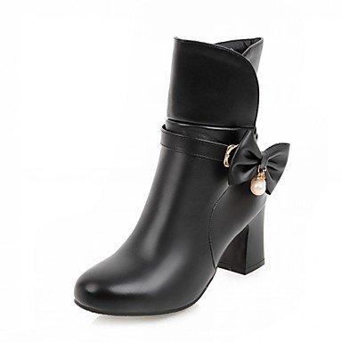 Botines talón EU35 Invierno oficina de botas Chunky Bowknot puntera botines mujer informal UK3 polipiel para Zapatos RTRY amp;Amp; redonda Carrera botas Primavera CN34 US5 Moda xvBw56FY
