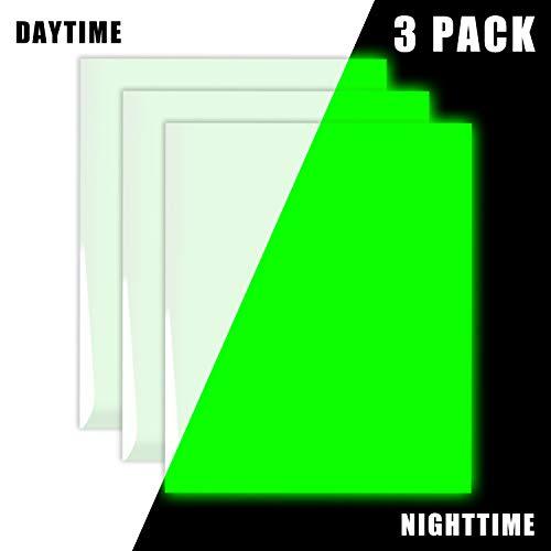 Glow in The Dark Vinyl Luminous Heat Transfer Vinyl HTV for T-Shirt 12 X 10 Glow Green (Pack of 3)