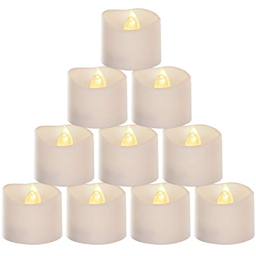 12 Pack Flameless LED Tea Light Candles, Flickering Tealight Candle, Battery Operated LED Candles, Electric Fake Candle for Wedding, Party, Dining Room