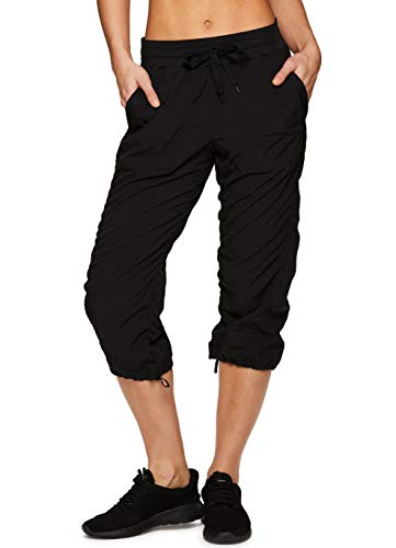 RBX Active Women's Lightweight Body Skimming Drawstring Zumba Pant,Large,Black ()