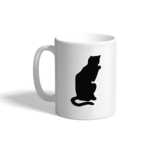 Custom Funny Coffee Mug Coffee Cup Russian Blue Cat Silhouette C White Ceramic Tea Cup 11 OZ Design Only ()