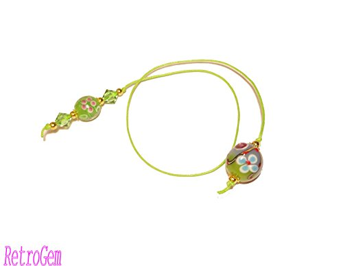 RetroGem Floral Lampwork Bead With Swarovski Elements Crystal Book Thong Bookmark