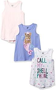 Amazon Brand - Spotted Zebra Girls' Toddler & Kids 4-Pack Sleeveless T