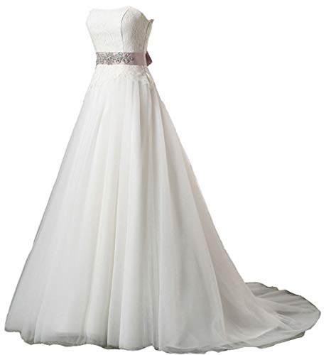 Snowskite Womens A-line Strapless Sweetheart Lace Tulle Wedding Bridal Dress Ivory 12