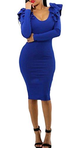 Jaycargogo Womens Sexy Cou Boule Moulante Solide Cocktail Robe Midi Bleu