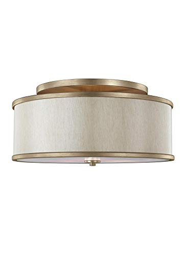Gold Flush Set - Murray Feiss SF339SG Lighting Lennon Three Light Semi-Flush Mount, Sunset Gold Finish with Cream Linen Shade