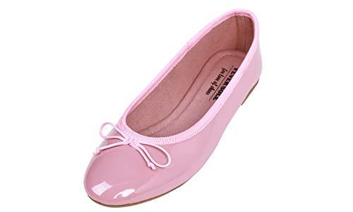 Feversole Women's Macaroon Colorful Memory Foam Cushion Insock Patent Ballet Flat Dirty Pink
