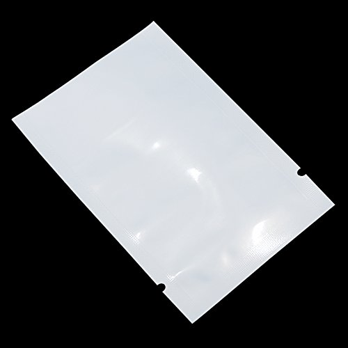 "300 Pcs Multi-Sizes White Front Clear Open Top 2.8mil Plastic Vacuum Pouch Heat Sealable Bags for Food Storage Vitamin Packets Mini Sample Giveaway with Tear Notch (2.4""x3.5""(usable Size 2""x3.1""))"