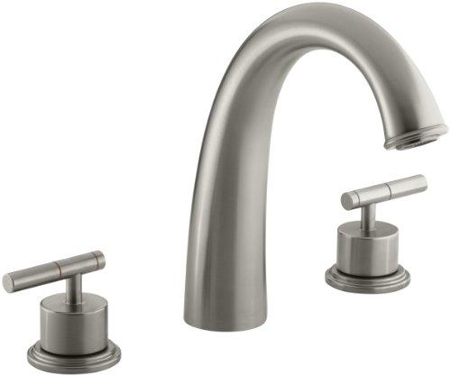 KOHLER K-T8235-4-BN Taboret Deck-Mount High-Flow Bath Faucet Trim, Vibrant Brushed Nickel - Shower Taboret
