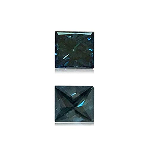 (Mysticdrop 0.2 Cts of 3.2x3.5x2.2 mm SI2 Princess Cut Teal Blue Diamond (1 pc) Loose Color Diamond)